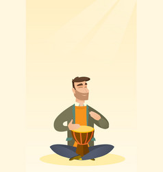 man playing the ethnic drum vector image
