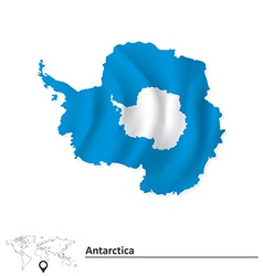 Map antarctica with flag vector