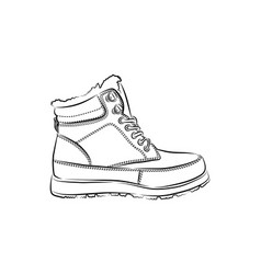 men winter boots on white background vector image