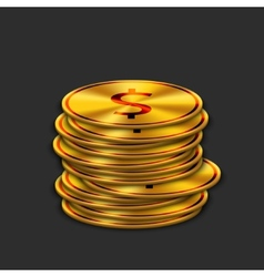 modern gold dollar on dark background vector image