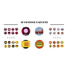 Modern retro icons set of development seo vector