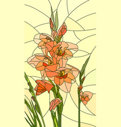 Mosaic flowers red gladiolus vector