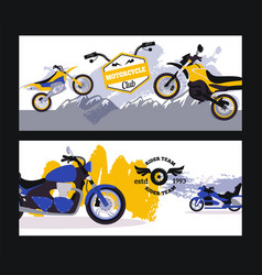 motorcycle rider club banner sport bike on vector image