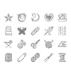 needlework charcoal draw line icons set vector image