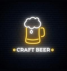 neon craft beer signboard beer mug emblem vector image