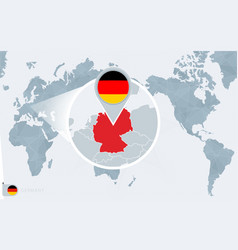 pacific centered world map with magnified germany vector image