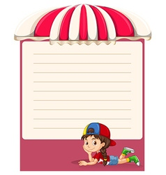 Paper design with little girl vector image