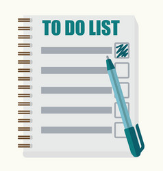 Paper note book with to do list in cartoon style vector