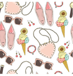 pattern of women accessories and ice cream on a vector image