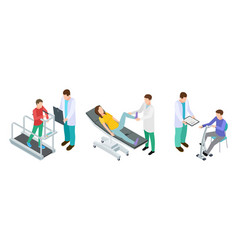 Physiotherapy rehabilitation patients and doctors vector