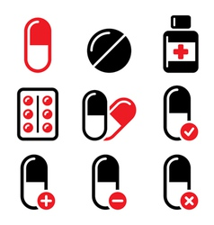 Pills medication red and black icons set vector image