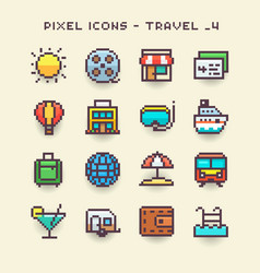 Pixel icons-travel 4 vector