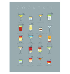 Poster cocktails flat grayish blue vector