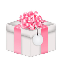 Realistic 3d gift box with bow and ribbon eps10 vector