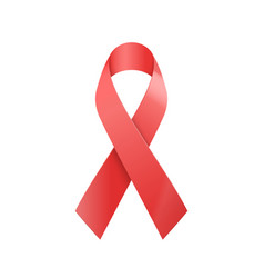 realistic red ribbon world aids day symbol vector image
