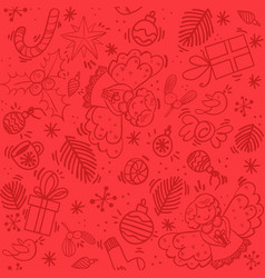 red christmas pattern with angel vector image