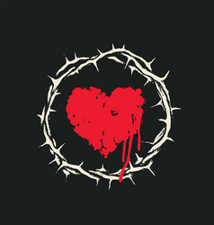 Red heart with bloody drips inside crown thorns vector