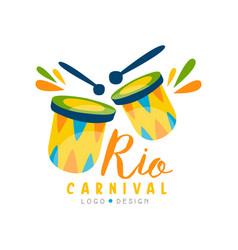 Rio carnival logo design bright festive party vector