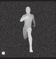 running man 3d model black white stippling effect vector image