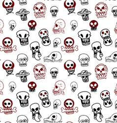 Seamless pattern of many style of skull vector image