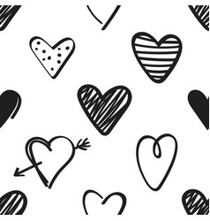 Seamless pattern with black hand drawn hearts on vector