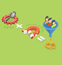 Seo plus inbound marketing flat isometric vector