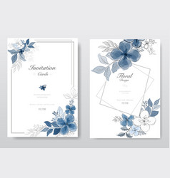 Set blue watercolor florals card vector
