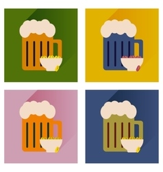 Set flat icons glass beer and peanuts vector