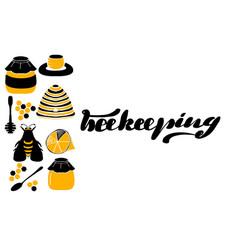 set of honeycombs beehive bee vector image