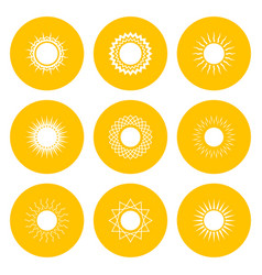 set yellow icons with sun vector image