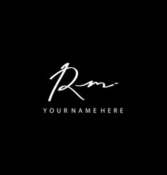 signature logo r and m rm initial letter vector image