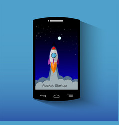 smartphone with launch rocket startup concept vector image
