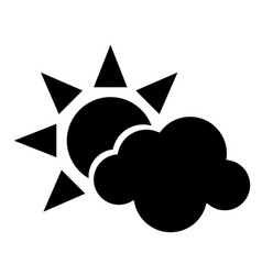 Sun cloud weather symbol pictogram vector