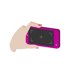 Taking photo on smartphone symbol flat isometric vector