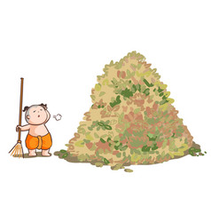 Thai kid sweep the huge pile leaves vector