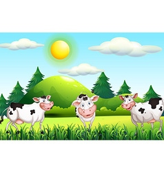 Thee cows standing in farmyard vector