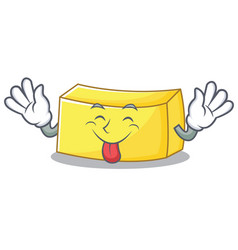 tongue out butter mascot cartoon style vector image