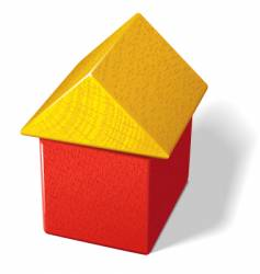 Toy block house vector