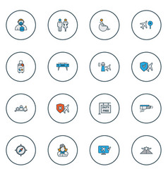 transportation icons colored line set with video vector image