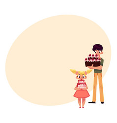 two kids boy and girl holding birthday cakes vector image