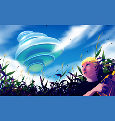 Ufo flying over corn field vector