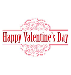 valentines day emblem or icon on white background vector image