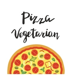 Vegetarian Pizza and hand vector image