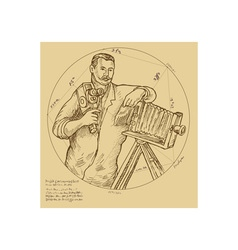 Vintage Photographer holding video camera vector