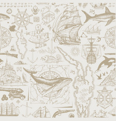 vintage seamless pattern on theme sea travel vector image