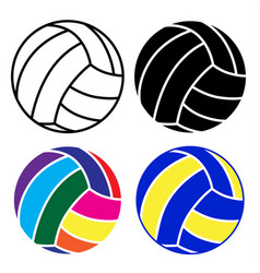 volleyball ball icon set with black white and vector image