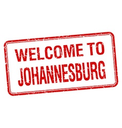 Welcome to Johannesburg red grunge square stamp vector