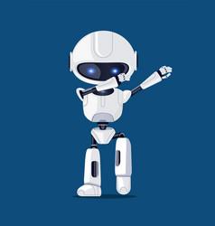 White funny dabbing robot card vector