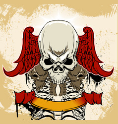 winged skull and ribs anatomical vector image