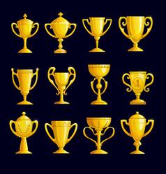 Winner cartoon golden trophy cups vector